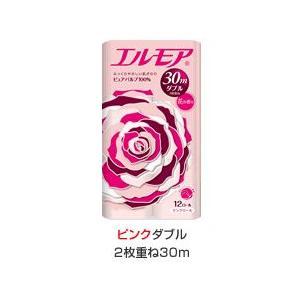 【段ボール1ケースでの配送】エルモア トイレットロール12R  ピンクダブル2枚重ね30m 花の香り×8入|koichi