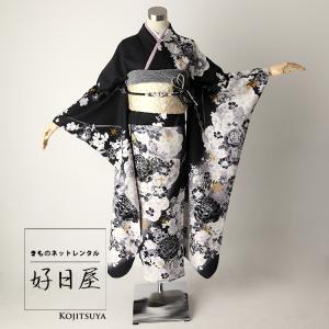 振袖 レンタル フルセット 正絹 着物 結婚式 成人式 身長159-174cm 黒 bk-023