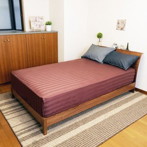 送料無料 ボックスシーツ サテンストライプ シングル ブラウン 綿100% なめらかな肌ざわり 全周ゴム付き|koki-mattress