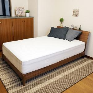 送料無料 ボックスシーツ サテンストライプ セミダブル ホワイト 綿100% なめらかな肌ざわり 全周ゴム付き koki-mattress