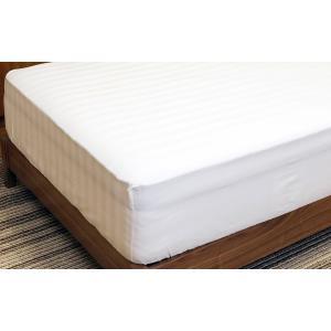 送料無料 ボックスシーツ サテンストライプ セミダブル ホワイト 綿100% なめらかな肌ざわり 全周ゴム付き koki-mattress 02