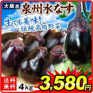 大阪産 泉州水なす (4kg) 15〜25玉 ご家庭用 水なす 野菜 国華園|kokkaen