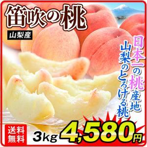 桃 山梨産 笛吹の桃(3kg) 秀品 正品 品種おまかせ もも ピーチ フルーツ 国華園|kokkaen