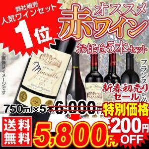 ワイン おすすめ赤ワイン 5本セット 5種1組 送料無料  新春セール フランス スペイン イタリア など★フランス産ワインが必ず2本入ります★グルメ|kokkaen