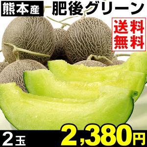メロン 熊本産 肥後グリーン 2玉1箱 送料無料 青肉メロン 家庭用 kokkaen