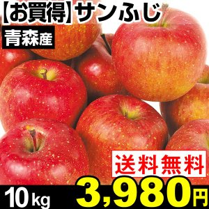 リンゴ 【お買得】青森産 サンふじ 10kg 1箱 送料無料【2017年新物りんご・秋発送】|kokkaen