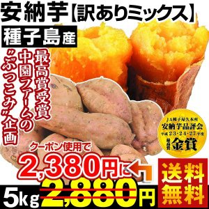 安納芋 種子島産 ぶっこみ安納芋 訳ありミックス 5kg1組 送料無料 さつまいも 特別版|kokkaen