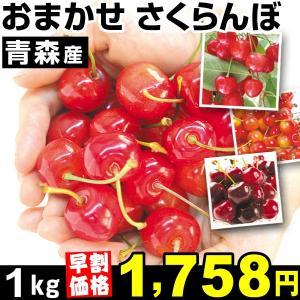 さくらんぼ 【早割価格】青森産 おまかせさくらんぼ 1kg1箱 ご家庭用 冷蔵 食品|kokkaen