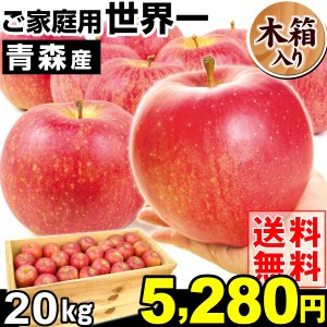 りんご 青森産 世界一 ご家庭用 木箱入り 20kg1箱 送料無料 【数量限定】【ただいま発送中】|kokkaen