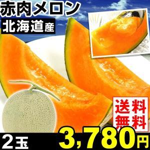 メロン 北海道産 赤肉メロン 2玉1箱 送料無料 食品|kokkaen