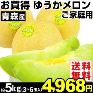 メロン 青森産 ご家庭用 ゆうかメロン 約5kg1箱 送料無料 冷蔵便 食品|kokkaen