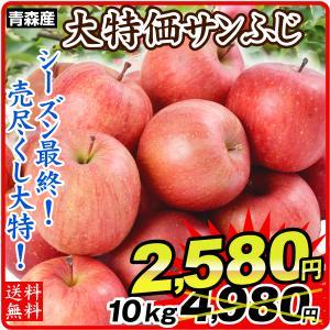 りんご 青森産 ご家庭用 サンふじ(10kg)24〜56玉 林檎 フルーツ 国華園|kokkaen