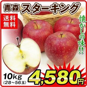 りんご 青森産 スターキング(10kg)28〜56玉 昭和の懐かしの味 スターキングデリシャス 希少品種 林檎 フルーツ 国華園|kokkaen