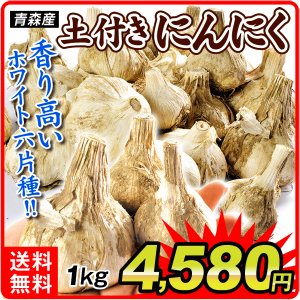 にんにく 青森産 土付きにんにく 2kg1組 野菜 国華園|kokkaen