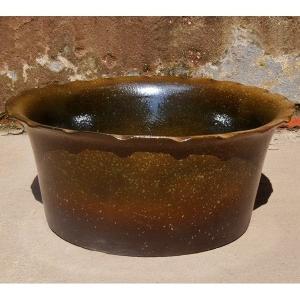 睡蓮鉢 すいれん鉢 香染(こうぞめ) 1個 直径36・高さ16cm メダカ鉢 ハス鉢 陶器 水鉢 ビオトープ 国華園|kokkaen