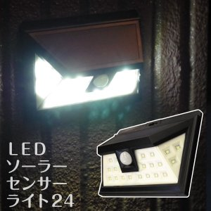 LEDソーラーセンサーライト24 1個 庭園灯 人感センサー 夜間自動点灯 ガーデン 庭 玄関 門扉 24LED 防雨|kokkaen