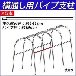 園芸支柱 支柱 パイプ支柱 横通し用パイプ支柱(差込部付き) 5本|kokkaen