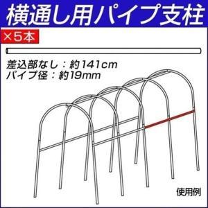 園芸支柱 支柱 パイプ支柱 横通し用パイプ支柱(差込部なし) 5本|kokkaen
