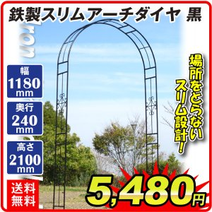 バラアーチ 鉄製スリムアーチ 1個 幅118・奥行24・高さ240 ガーデンアーチ ローズアーチ ガーデニング|kokkaen
