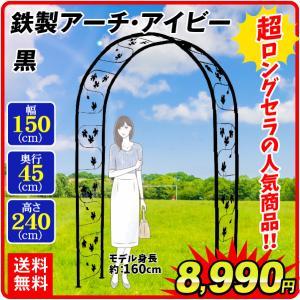 バラアーチ 鉄製アーチ・アイビー 1個 幅150・奥行45・高さ240 ガーデンアーチ ローズアーチ ガーデニング|kokkaen