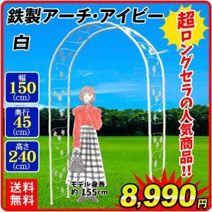 バラアーチ 鉄製アーチ・ホワイトアイビー 1個 幅150・奥行45・高さ240 ガーデンアーチ ローズアーチ ガーデニング|kokkaen