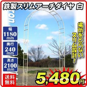 バラアーチ 鉄製スリムアーチ・白 1個 幅118・奥行24・高さ240 ガーデンアーチ ローズアーチ ガーデニング ホワイト|kokkaen