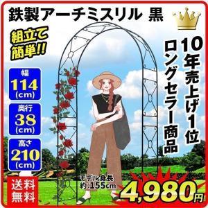 アーチ バラアーチ 鉄製アーチ・ミスリル 黒 1個 ガーデンアーチ ローズアーチ ガーデニング|kokkaen