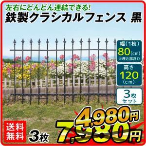 ガーデンフェンス 鉄製 組立式 クラシカルフェンス 3枚組 幅234・高さ120cm 送料無料 アイアン 柵 仕切り 庭 公園 花壇|kokkaen