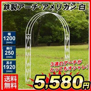 アーチ バラアーチ 鉄製アーチ・アメリカン ホワイト 1個 ガーデンアーチ ローズアーチ ガーデニング 庭 ガーデン|kokkaen
