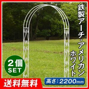 アーチ バラアーチ 鉄製アーチ・アメリカン ホワイト 2個 ガーデンアーチ ローズアーチ ガーデニング 庭 ガーデン|kokkaen
