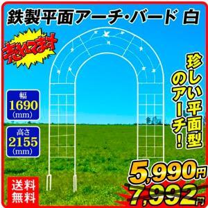 ガーデンアーチ ローズアーチ バラアーチ 送料無料 鉄製平面アーチ・バード 白 1個 幅169・高さ...