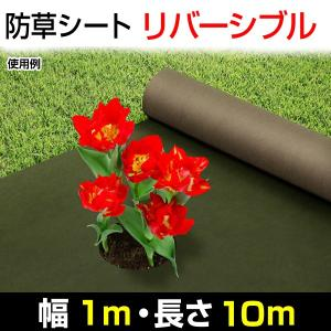 防草シート リバーシブル防草シート 緑色&茶色 1×10m 1巻1組|kokkaen