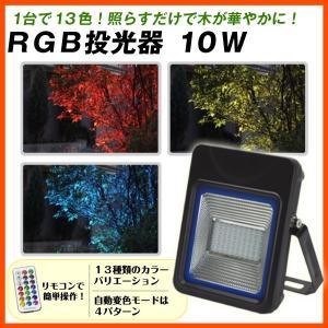 RGB投光器10W 1個 イルミネーシ ョン 13色 投光器 調光 調色 庭 園灯 リモコン付き 国華園|kokkaen