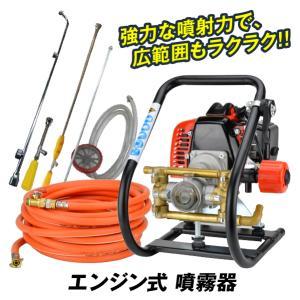 噴霧器 エンジン式 1台 32.6cc ガソリン 2サイクル 動噴 農業 農用 農薬 除草剤 肥料 散布 散水 10mホース 動力噴霧器 国華園|kokkaen