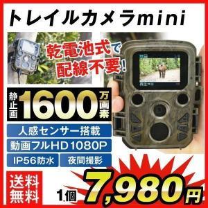 防犯カメラ 監視 トレイルカメラmini 1個 ハンティング フィールド 屋外 屋内 防水 防塵 乾電池 500万画素 フルHD 熱感知 赤外線センサー 上書録画 日本語説明書|kokkaen