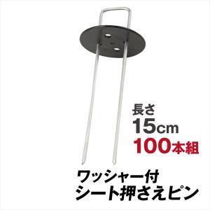 防草シート ピン シート押さえ 亜鉛メッキシート押さえ(ワッシャー付) 100組 固定 ピン 押さえ...