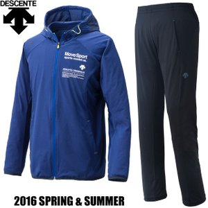 デサント Move Sport ムーブスポーツ 2016春夏 フード付き タフスウェット ジャージ 上下セット/DAT1605 RBLU DAT1605P BLK/カラー:Rブルー×ブラック|kokkidozao