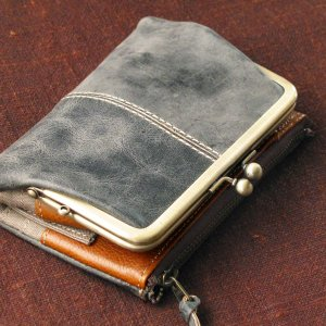 Ain Soph(アインソフ)二つ折がま口財布 ブルー|kokochi