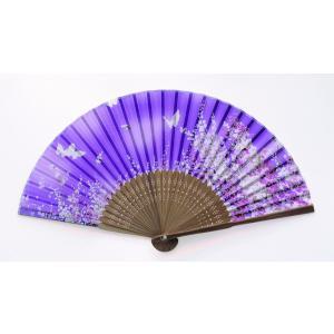 高級夏扇子  涼-3  シンビジウムと蝶(女性向き)
