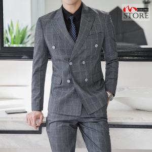 スーツ 紳士 ダブルスーツ 3ピーススーツ スリーピース ビジネススーツ スリーピー チェック柄 6...