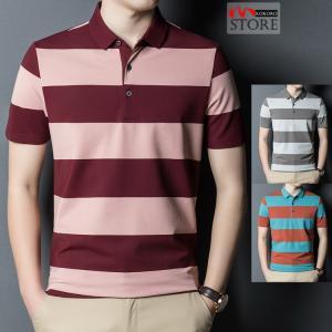 ボーダーポロシャツ メンズ きれいめ ポロシャツ 半袖 ゴルフシャツ ゴルフウェア 40代 50代 60代 POLO 夏 新作|kokoro1090