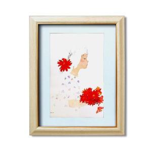 VS 絵画額縁/木目調フレーム 〔いわさきちひろ/花束〕 壁掛け用 ひも付き 中身入替可 日本製 kokoroes