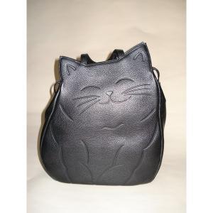 VS 牛革猫型おすましリュック ブラック 〔リュックサック/ハンドバッグ〕 kokoroes