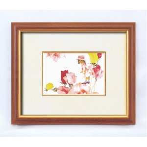 VS 額縁/フレーム 〔インチ判 ヨコ〕 いわさきちひろ 「花と少女」 スタンド付き 壁掛け可 日本製 kokoroes
