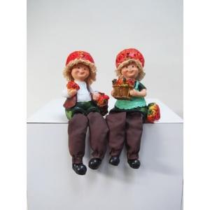 ディスプレイとしてかわいい♪置物お座り人形 イチゴ 2SET|kokoroes