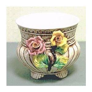 ロココ調プランター大輪バラ陶花付き鉢カバー|kokoroes