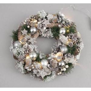 クリスマスLEDリース スノーホワイト  41201|kokoroes