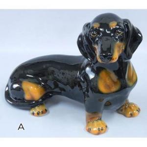 イタリア製 インテリア 陶器動物置物/ミニチュアダックスフント(A黒・B茶)|kokoroes