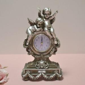 クラシック調エンゼル置時計 シルバー|kokoroes