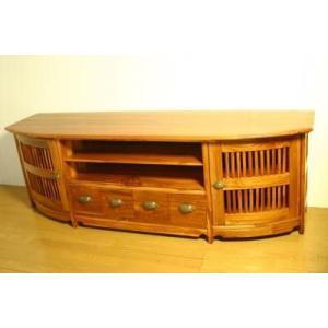 ローボード 天然無垢チークローボード180 ライトブラウン アジアン家具|kokoroes